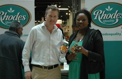 Commercial Director at Rhodes Food Group, Richard Phillips and the National Director, Agro Processing Unit, Department of Trade and Industry, Unati Speirs at the Rhodes Foods stand.