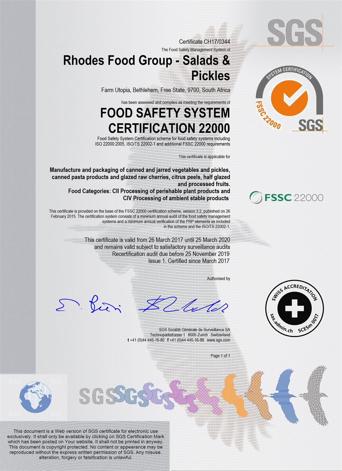 our certifications food manufacturers in south africa